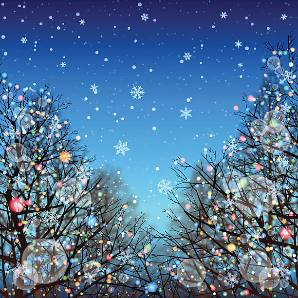 Winter background[Illumination and Deciduous trees]:スマホ壁紙(壁紙.com)