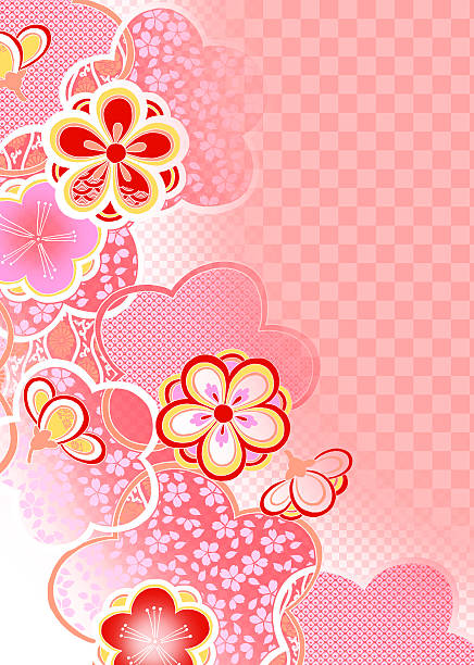 Oriental background with Japanese traditional pattern and flower:スマホ壁紙(壁紙.com)