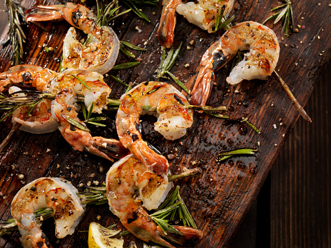 Prawn - Seafood「Grilled Shrimp on Rosemary Skewers」:スマホ壁紙(6)