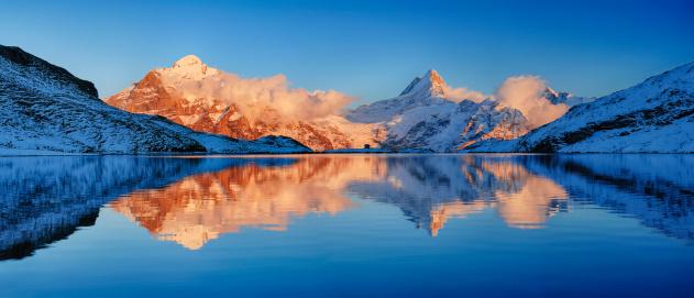 Valais Canton「Bachalpsee with mountains, sunset.」:スマホ壁紙(4)
