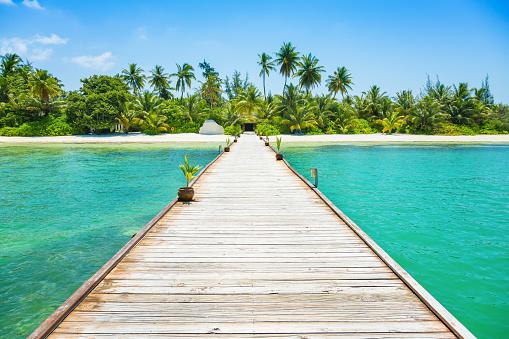Indian Ocean「Jetty at Canareef Resort Maldives, Herathera island, Addu atoll, Maldives」:スマホ壁紙(2)