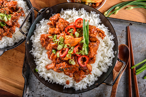 Asian Food「Chopped Pork Meat Cooked with Red Chili Paste, Gochujang Sauce, over Rice」:スマホ壁紙(17)