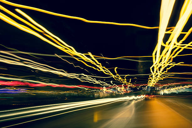Driving at night with abstract city light trails, Amsterdam:スマホ壁紙(壁紙.com)