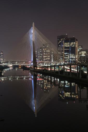 Downtown District「Portrait of Cable-Stayed Bridge Octávio Frias de Oliveira at night  in São Paulo, Brazil」:スマホ壁紙(18)
