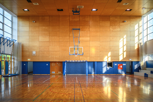 Basketball「Portrait of Gym and Parquet Basketball Court」:スマホ壁紙(7)