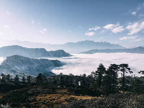 Sichuan Province「cloud sea and mountains in winter」:スマホ壁紙(19)