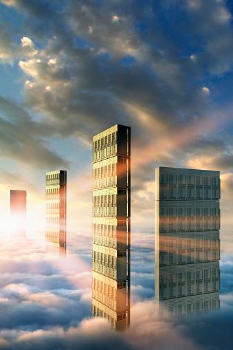 Cloud Storage「Computer servers in clouds」:スマホ壁紙(18)