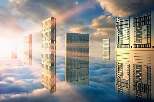 Cloud Storage「Computer servers in clouds」:スマホ壁紙(0)