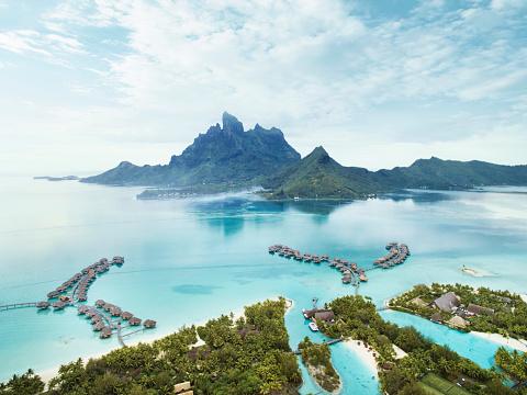 Volcano「Bora Bora volcano and lagoon.」:スマホ壁紙(1)