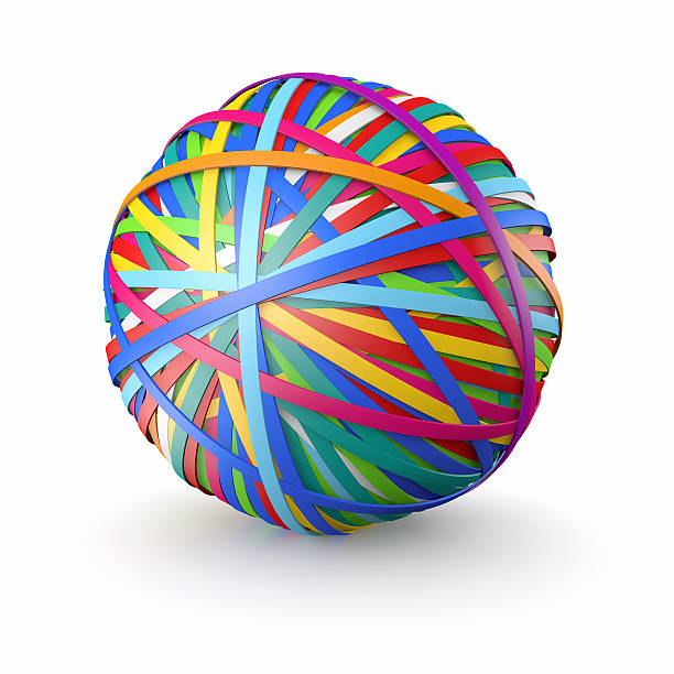 A colorful ball of rubber bands, on white:スマホ壁紙(壁紙.com)