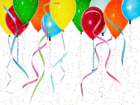 お祝い「カラフルなバルーン、コンフェティ」:スマホ壁紙(12)