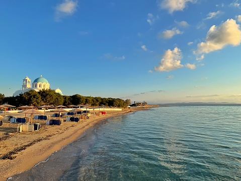 Patmos「The church of Agioi Anargyroi and beach, Skala, Agistri, Attica, Greece」:スマホ壁紙(14)
