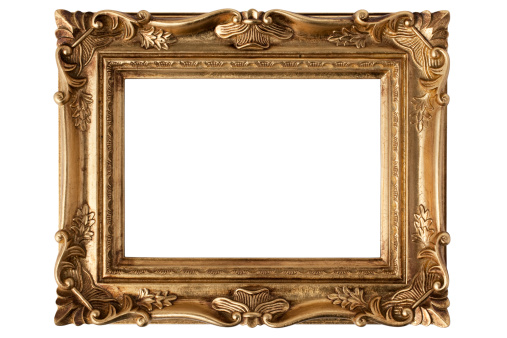 Knick Knack「An empty gold antique picture frame over a white background」:スマホ壁紙(8)