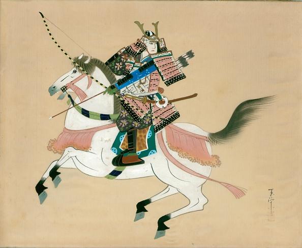 戦国武将「Samurai Warrior riding a horse. A Japanese painting on silk, in a traditional Japanese style.」:写真・画像(5)[壁紙.com]