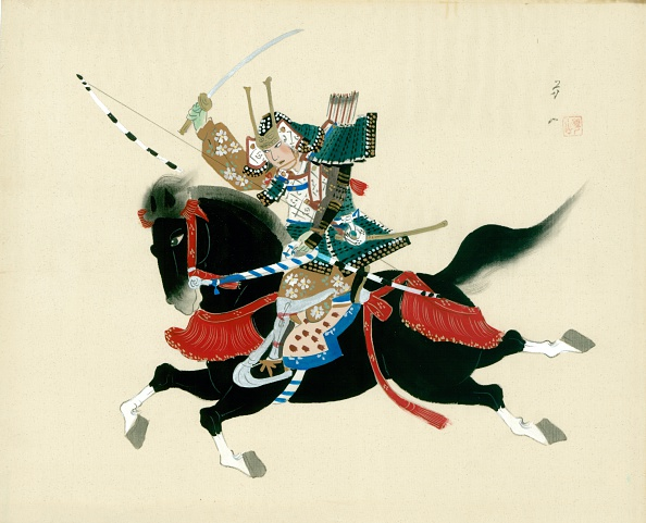 戦国武将「Samurai Warrior riding a horse. A Japanese painting on silk, in a traditional Japanese style.」:写真・画像(4)[壁紙.com]