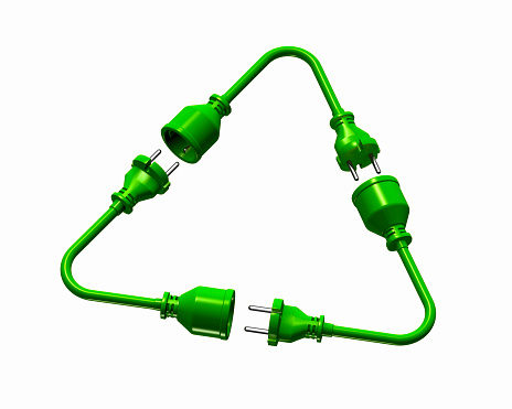 Continuity「Green power cords in the shape of a recycling symbol」:スマホ壁紙(1)