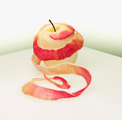 リンゴ「円形剥いたレッドアップル」:スマホ壁紙(5)