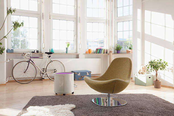 Home interior with bicycle and chair:スマホ壁紙(壁紙.com)