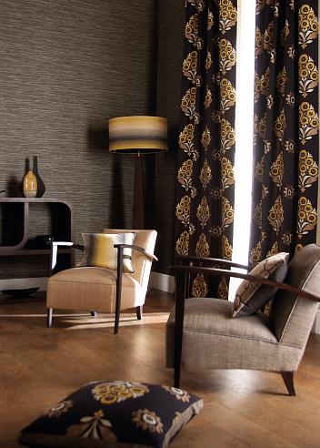布柄「Home Interior of a contemporary living room with furniture」:スマホ壁紙(3)