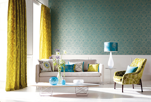 Floral「Home Interior of a contemporary living room with furniture」:スマホ壁紙(19)