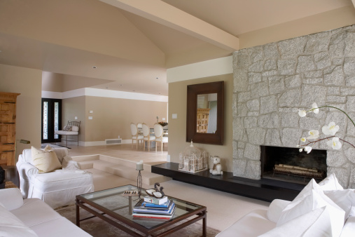 Part of a Series「Home interior: living room and fireplace, dining room」:スマホ壁紙(12)
