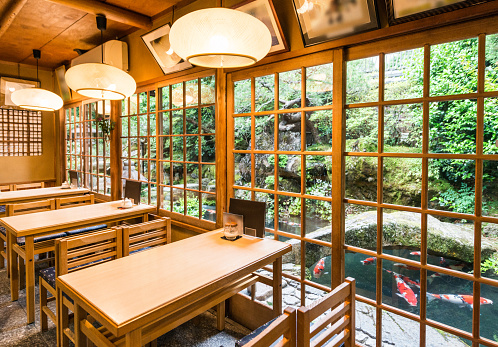 Kyoto City「Traditional Japanese Restaurant Interior with Dining Tables and Garden View in Kyoto Japan」:スマホ壁紙(7)