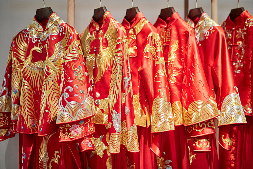 Fashion Collection「Traditional Chinese Qun Gua Jackets Hanging in Design Studio」:スマホ壁紙(12)