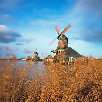 Amsterdam「Traditional Dutch windmills at Zaanse Schans, Amsterdam, Netherland」:スマホ壁紙(0)