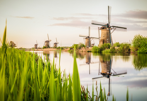 Dawn「Traditional Dutch windmills at Kinderdijk」:スマホ壁紙(1)