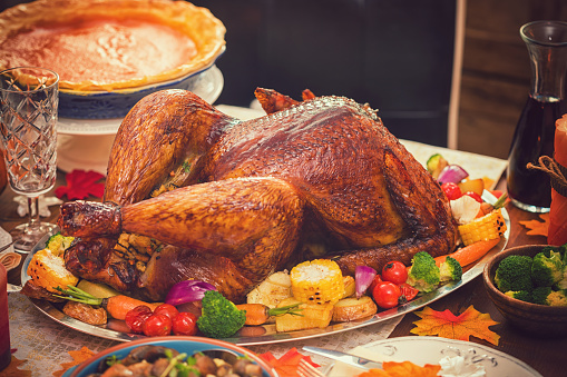 Stuffed Turkey「Traditional Stuffed Turkey with Side Dishes for Thanksgiving Day」:スマホ壁紙(12)