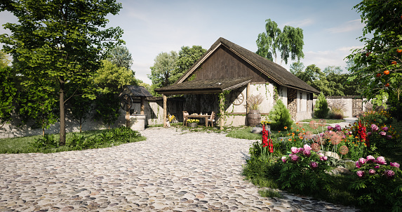 Thatched Roof「Traditional Old Farmhouse」:スマホ壁紙(14)