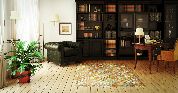 Black Color「Traditional Home Library Interior」:スマホ壁紙(10)
