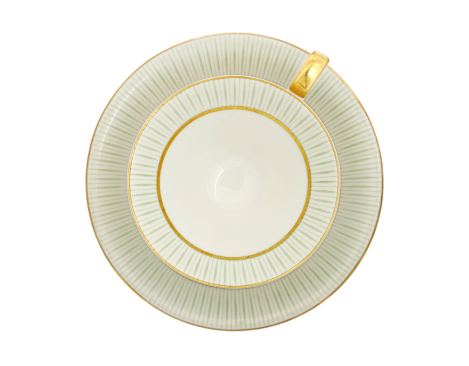 Saucer「Traditional porcelain tea cup top view, gold and green pattern」:スマホ壁紙(15)