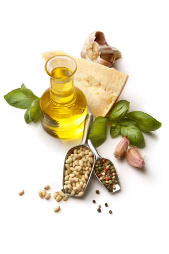Pine Nut「Flavouring: Pesto Ingredients Isolated on White Background」:スマホ壁紙(1)