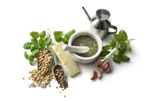 Mortar and Pestle「Flavouring: Pesto and Ingredients Isolated on White Background」:スマホ壁紙(11)