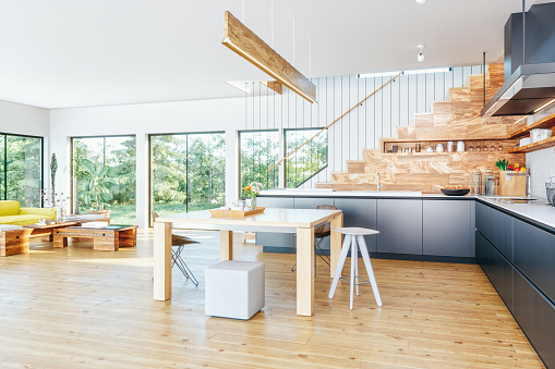 Domestic Kitchen「Open Plan Modern Kitchen And Living Room」:スマホ壁紙(0)