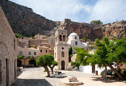Town Square「Greece, Monemvasia, bell tower of Greek Orthodox Church Christi Elkomenos」:スマホ壁紙(3)