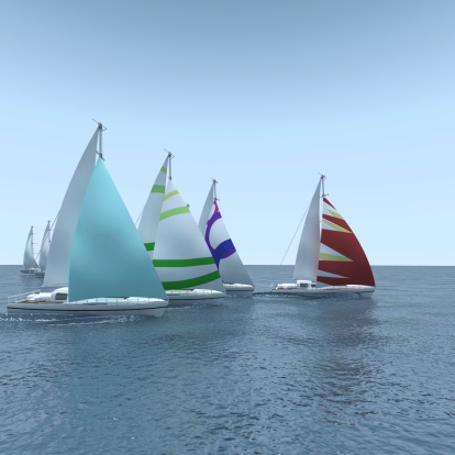 Crew「Computer generated sailboat regatta on calm sea」:スマホ壁紙(4)