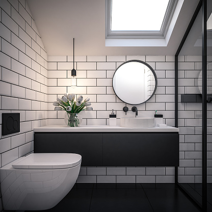 Igneous Rock「Computer generated image of bathroom. Architectural Visualization. 3D rendering.」:スマホ壁紙(11)