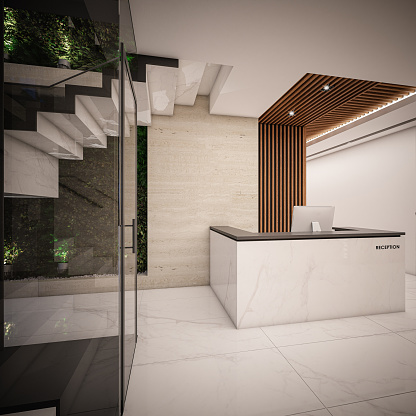 Hotel Reception「Computer generated image of Hotel Lobby and Entrance Hall. Architectural Visualization. 3D rendering. View 02」:スマホ壁紙(10)