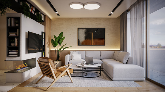 Computer Software「Computer generated image of living room. Architectural Visualization. 3D rendering.」:スマホ壁紙(16)