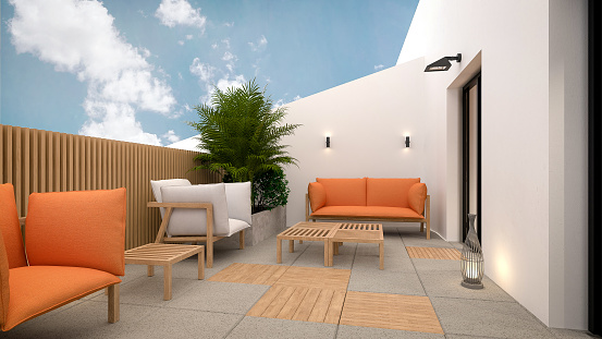 Rooftop「Computer generated image of balcony. Architectural Visualization. 3D rendering. Interior Design」:スマホ壁紙(7)