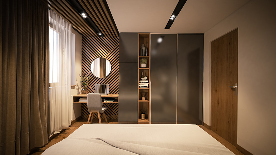 Wood Paneling「Computer generated image of bed room. Architectural Visualization. 3D Rendering」:スマホ壁紙(6)