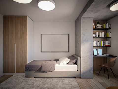 Wood Paneling「Computer generated image of bed room. Architectural Visualization. View 02」:スマホ壁紙(11)