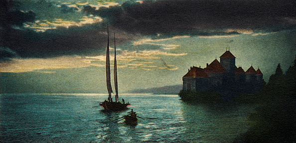 Vaud Canton「Château de Chillon - the castle on Lake Geneva (near Montreux), made famous by Lord Byron 's poem 'The Prisoner of Chillon'.」:写真・画像(1)[壁紙.com]