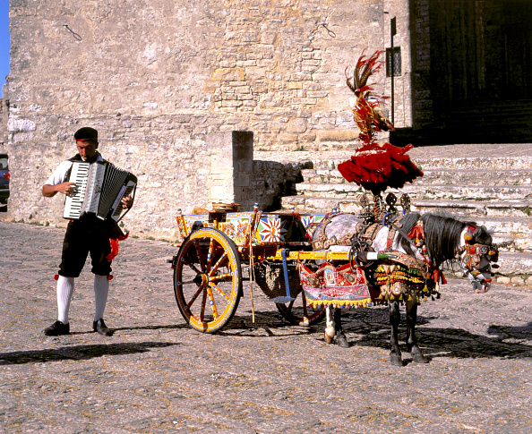 Accordion - Instrument「Man with accordion and decorated pony and cart, Erice, Sicily.」:写真・画像(17)[壁紙.com]