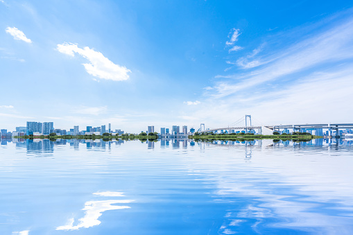 Horizon Over Water「Rainbow bridge seen from Odaiba」:スマホ壁紙(12)