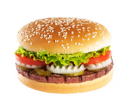 Meat Dish「Hamburger over white background」:スマホ壁紙(17)