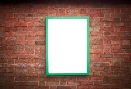 Brick Wall「blank sign on a brick wall」:スマホ壁紙(15)