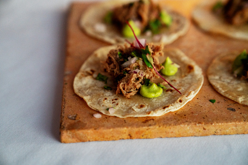 Tortilla - Flatbread「Beautifully Styled Shredded Beef Tacos On Corn Tortillas With Dots Of Guacamole」:スマホ壁紙(11)